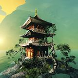 Buddhist temple in mountains Royalty Free Stock Image