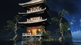 Buddhist temple in mountains Stock Image