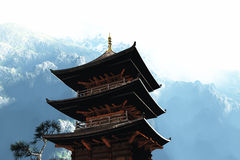 Buddhist temple in the mountains Stock Photos