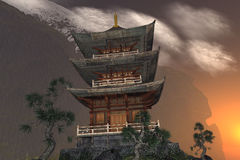 Buddhist temple in the mountains Stock Image