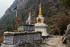 Buddhist temple in the mountains. Nepal Himalaya Spring 2012 Stock Photography