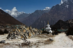 Buddhist temple in the mountains. Nepal Himalaya Spring 2011 Royalty Free Stock Images