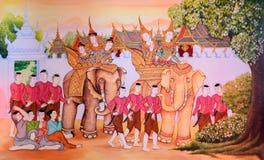 Buddhist temple mural painting art Stock Photo