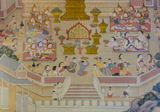 Buddhist temple mural painting Royalty Free Stock Photo