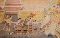 Buddhist temple mural painting Royalty Free Stock Photography