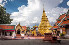 Buddhist temple named Wat Phra That Hariphunchai Stock Photo