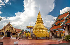 Buddhist temple named Wat Phra That Hariphunchai Royalty Free Stock Images