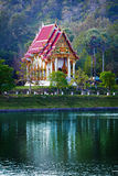 Buddhist temple on near the pond - Thailand. Stock Photo