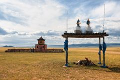 Buddhist temple near the road in Mongolia Royalty Free Stock Photo