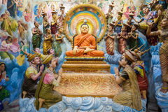 Buddhist Temple in Negombo. NEGOMBO, SRI LANKA - FEBRUARY 08, 2017: Angurukaramulla Temple interior. Angurukaramulla is a buddhist temple in Negombo Stock Photography