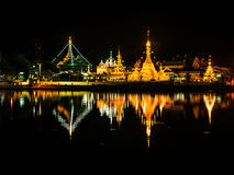 Buddhist temple in the night Stock Photography