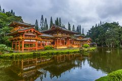 Buddhist Temple in Oahu. Byodo-In Buddhist Japanese Temple in Oahu, Hawaii. An elegant little bridge leads to the temple Stock Photos