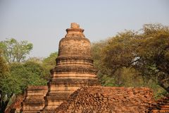 Buddhist Temple  And Old Stupas With Stupa Base. Ruins. temple with old pagodas and bricks walls Buddhist historical park in Phrm Ram temple. summertime in stock photos