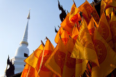 Buddhist temple orange flags Stock Photo