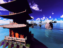 Buddhist temple over the lake Royalty Free Stock Photo