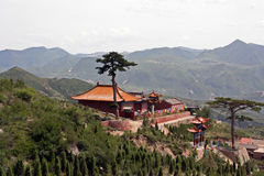 Buddhist temple overlooking mountains in North China, near Daton Stock Image