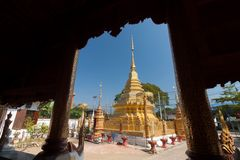 Buddhist temple in Pa sang Lamphun , Thailand.  stock image