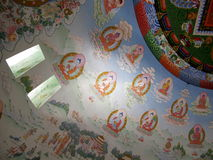 Buddhist temple painted roof Royalty Free Stock Images