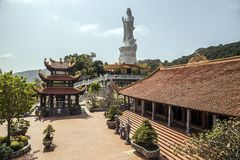 Buddhist temple on Phu Quoc island with many statues stock photography