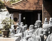 Buddhist temple on Phu Quoc island with many statues stock photos