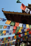 Buddhist Temple with Praying Flags Stock Image