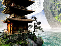 Buddhist Temple in rocky mountains Stock Photos