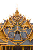 Buddhist temple roof. Detail isolated white royalty free stock image