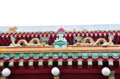 Buddhist temple rooftop. Chinese Dragons on top of Buddhist temple rooftop Royalty Free Stock Images