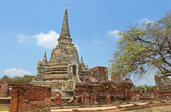 Buddhist temple ruins of Wat Mahathat Royalty Free Stock Photo