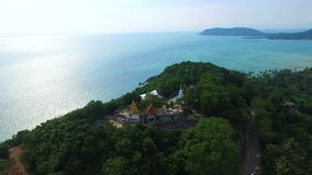 Buddhist Temple on Samui Tropical island in Thailand, Aerial View stock video footage