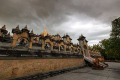 Buddhist Temple : Sandstone Pagoda in Pa Kung Temple at Roi Et of Thailand stock images