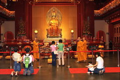 The buddhist temple. Singapore tooth temple.Believers and tourists from all over the world every day Royalty Free Stock Photo