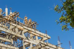 Buddhist temple under construction with blue sky background. Buddhist temple structure under construction with blue sky background. Selective focus Stock Photography