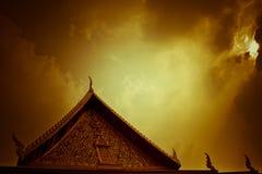 Buddhist Temple at sunset, Bangkok, Thailand Stock Photos
