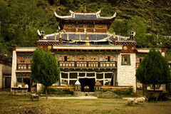 Buddhist temple in tibet, nature all around royalty free stock images