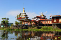 Buddhist temple in village on Inle Lake, Myanmar Stock Photo