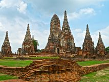 Buddhist temple Wat Chaiwatthanaram in Ayutthaya Royalty Free Stock Photo
