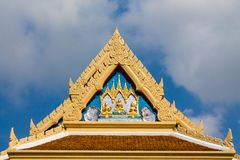 Buddhist Temple Wat roof in Thailand, thai traditional religious arcitecture. Buddhist Temple building with golden decoration, ornament and Buddha statues. Wat royalty free stock photos