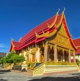 Buddhist Temple Wat in Thailand, thai traditional religious arcitecture. Buddhist Temple building with golden decoration, ornament and Buddha statues. Wat in royalty free stock photos