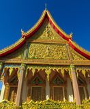 Buddhist Temple Wat in Thailand, thai traditional religious arcitecture. Buddhist Temple building with golden decoration, ornament and Buddha statues. Wat in stock image