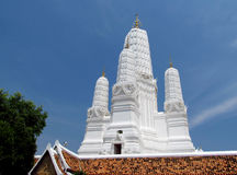 Buddhist temple white pagoda in Thailand Royalty Free Stock Photo