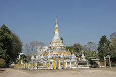Buddhist temple with white stupa. Pai, Thailand Royalty Free Stock Photos