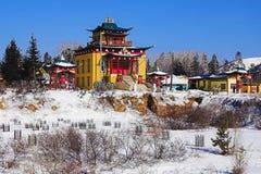 Buddhist temple in winter, Buryatia, Russia Stock Images