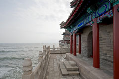 Buddhist temple by the Yellow Sea Stock Photo