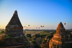 Buddhist temples in Bagan, Myanmar. Bagan, Myanmar - Feb 5, 2017. Buddhist temples at sunrise in Bagan, Myanmar. Bagan is one of the world greatest archeological Royalty Free Stock Images