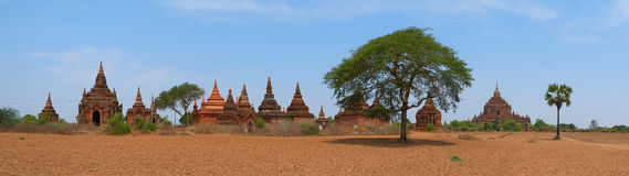 Buddhist Temples in Bagan, panorama. Panoramic view of Buddhist Temples in Bagan, Myanmar royalty free stock photography