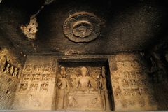 India, Ellora Buddhist cave Royalty Free Stock Images