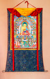 Buddhist thangka, Tibetan Buddhist painting on textile Royalty Free Stock Images
