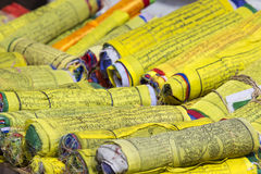 Buddhist Tibetan prayer flags rolled into a roll, Kathmandu, Nep Royalty Free Stock Photos