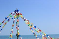 Buddhist tibetan prayer flags Stock Photos